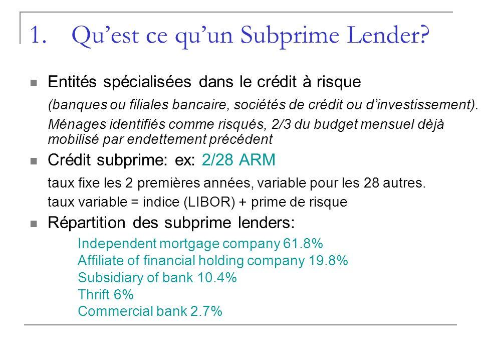 1.Quest ce quun Subprime Lender ? Entités spécialisées dans le crédit à risque (banques ou filiales bancaire, sociétés de crédit ou dinvestissement).