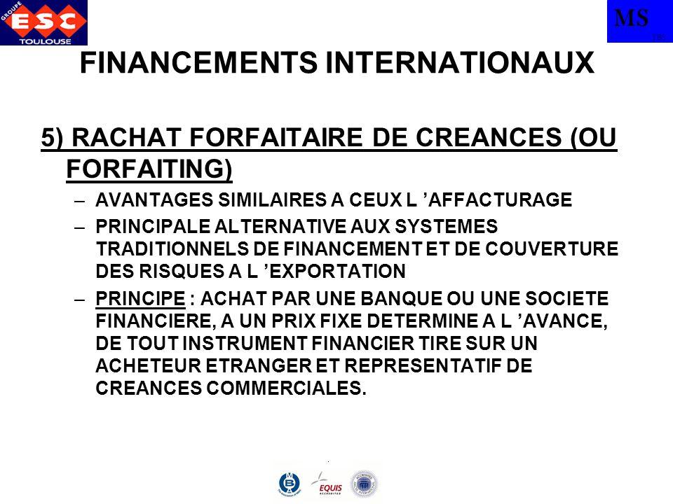 MS TBS FINANCEMENTS INTERNATIONAUX 5) RACHAT FORFAITAIRE DE CREANCES (OU FORFAITING) –AVANTAGES SIMILAIRES A CEUX L AFFACTURAGE –PRINCIPALE ALTERNATIV