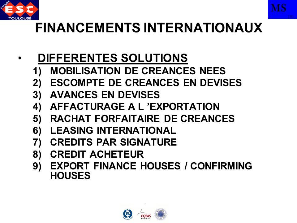 MS TBS FINANCEMENTS INTERNATIONAUX RACHAT FORFAITAIRE DE CREANCES –INSTRUMENT FINANCIER SOIT ACCEPTE PAR LACHETEUR ETRANGER, SOIT AVALISE OU GARANTI PAR UNE BANQUE DU PAYS DE L IMPORTATEUR SOIT BENEFICIAIRE D UNE LETTRE DE GARANTIE –PRIX D ACHAT DE LA CREANCE PAR LA BANQUE = VALEUR NOMINALE - COUT DUN « ESCOMPTE » –OPERATIONS INDIVIDUELLES –EXPORTATIONS DE BIENS D EQUIPEMENT DONT LE DELAI DE REGLEMENT S ETALE DE 6 MOIS A 5 ANS –CREANCES LIBELLES EN DEVISES NON EXOTIQUES
