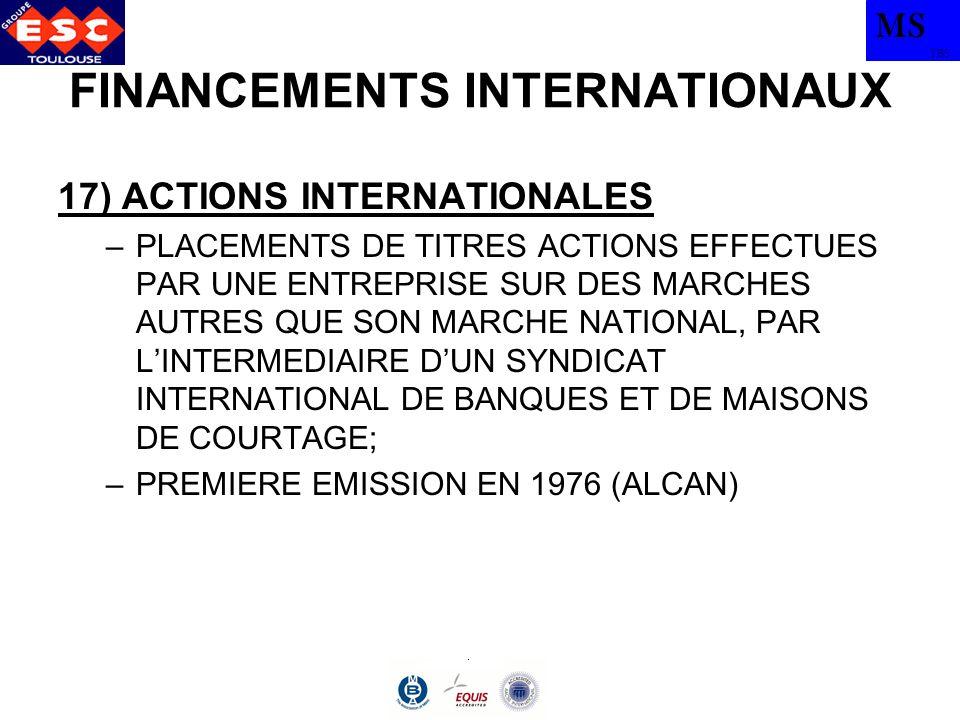 MS TBS FINANCEMENTS INTERNATIONAUX 17) ACTIONS INTERNATIONALES –PLACEMENTS DE TITRES ACTIONS EFFECTUES PAR UNE ENTREPRISE SUR DES MARCHES AUTRES QUE S