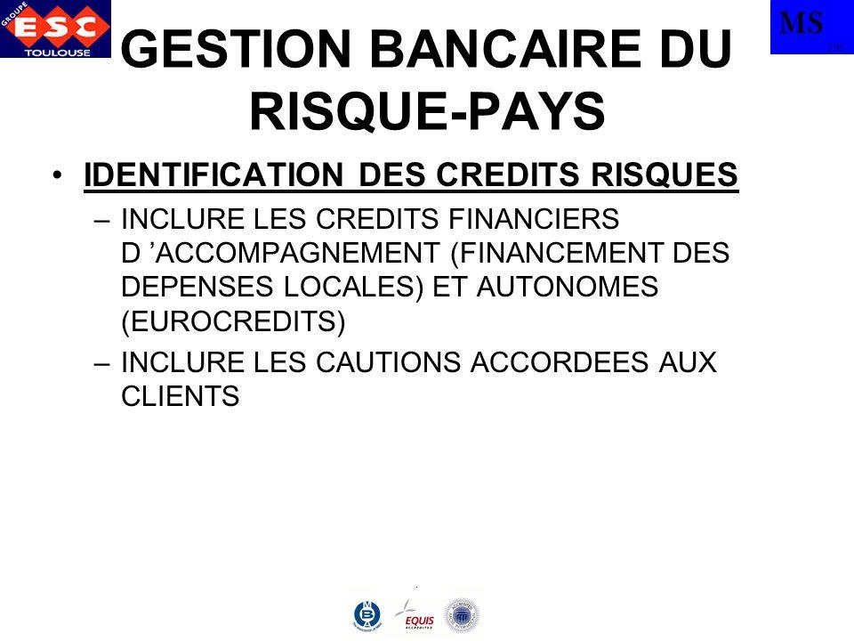 MS TBS GESTION BANCAIRE DU RISQUE-PAYS IDENTIFICATION DES CREDITS RISQUES –INCLURE LES CREDITS FINANCIERS D ACCOMPAGNEMENT (FINANCEMENT DES DEPENSES L