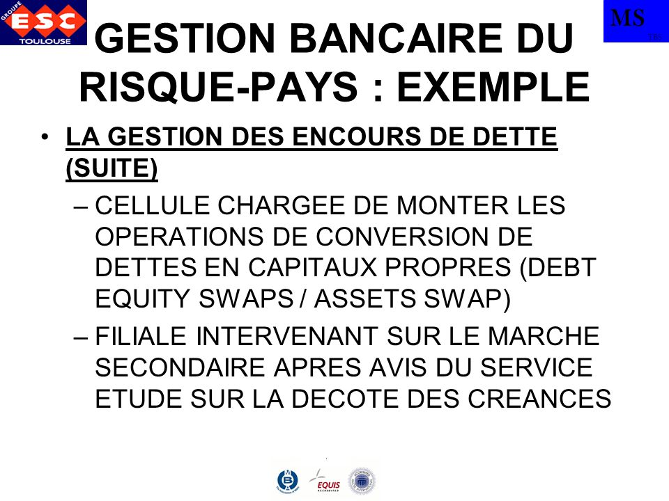 MS TBS GESTION BANCAIRE DU RISQUE-PAYS : EXEMPLE LA GESTION DES ENCOURS DE DETTE (SUITE) –CELLULE CHARGEE DE MONTER LES OPERATIONS DE CONVERSION DE DETTES EN CAPITAUX PROPRES (DEBT EQUITY SWAPS / ASSETS SWAP) –FILIALE INTERVENANT SUR LE MARCHE SECONDAIRE APRES AVIS DU SERVICE ETUDE SUR LA DECOTE DES CREANCES