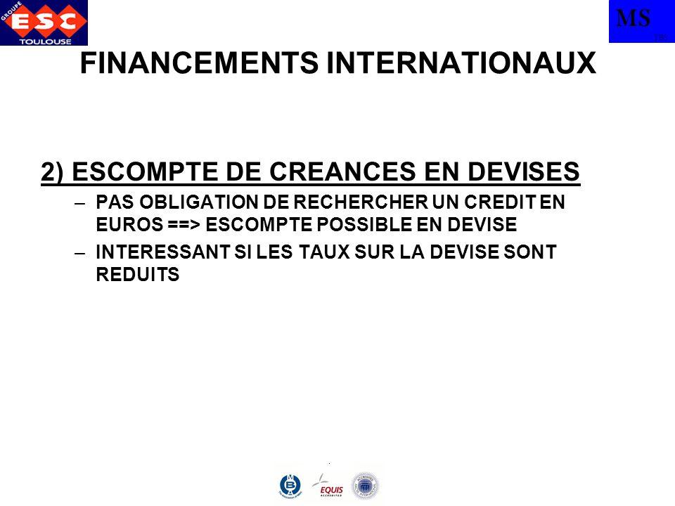 MS TBS FINANCEMENTS INTERNATIONAUX 2) ESCOMPTE DE CREANCES EN DEVISES –PAS OBLIGATION DE RECHERCHER UN CREDIT EN EUROS ==> ESCOMPTE POSSIBLE EN DEVISE
