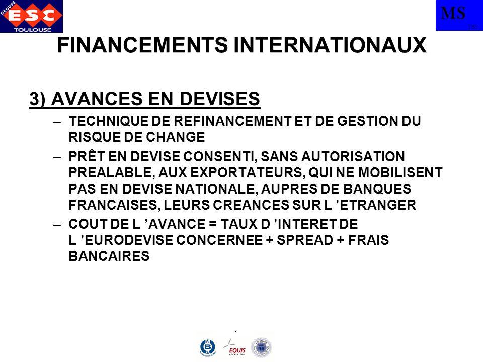 MS TBS FINANCEMENTS INTERNATIONAUX AUTRES MOYENS DE FINANCEMENT –PRETS PARALLELES (ANCETRES DES SWAPS) –PROJECT FINANCING –PARTENARIATS PUBLIC/PRIVE CONCESSION BUILD OPERATE TRANFER : BOT –ACCORDS DE COMPENSATION