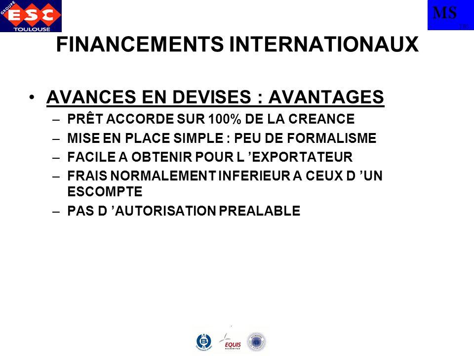 MS TBS FINANCEMENTS INTERNATIONAUX 7) CREDITS PAR SIGNATURE (OU CAUTIONS A L INTERNATIONAL) –PAS VERITABLEMENT UN CREDIT –PRATIQUES BANCAIRES NATIONALES TRANSPOSEES –GARANTIE QUI COUVRE L EXECUTION DE L OBLIGATION DU CAUTIONNE –DELIVREES PAR UNE BANQUE OU UNE SOCIETE D ASSURANCE A LA DEMANDE DE L EXPORTATEUR –EXIGEES PAR LES IMPORTATEURS MAITRES D ŒUVRE –PRESQUE TOUJOURS EXIGIBLES A « PREMIERE DEMANDE » ET « SANS CONTESTATION POSSIBLE »