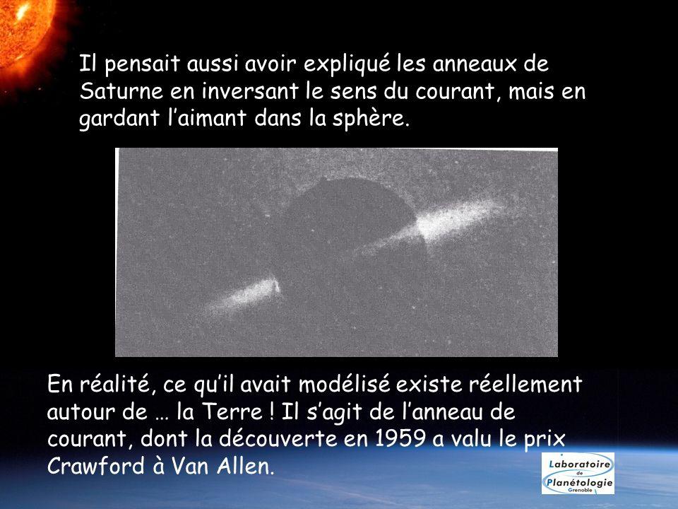 En réalité, ce quil avait modélisé existe réellement autour de … la Terre ! Il sagit de lanneau de courant, dont la découverte en 1959 a valu le prix