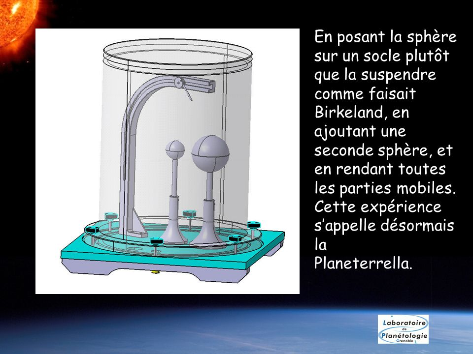 En posant la sphère sur un socle plutôt que la suspendre comme faisait Birkeland, en ajoutant une seconde sphère, et en rendant toutes les parties mob