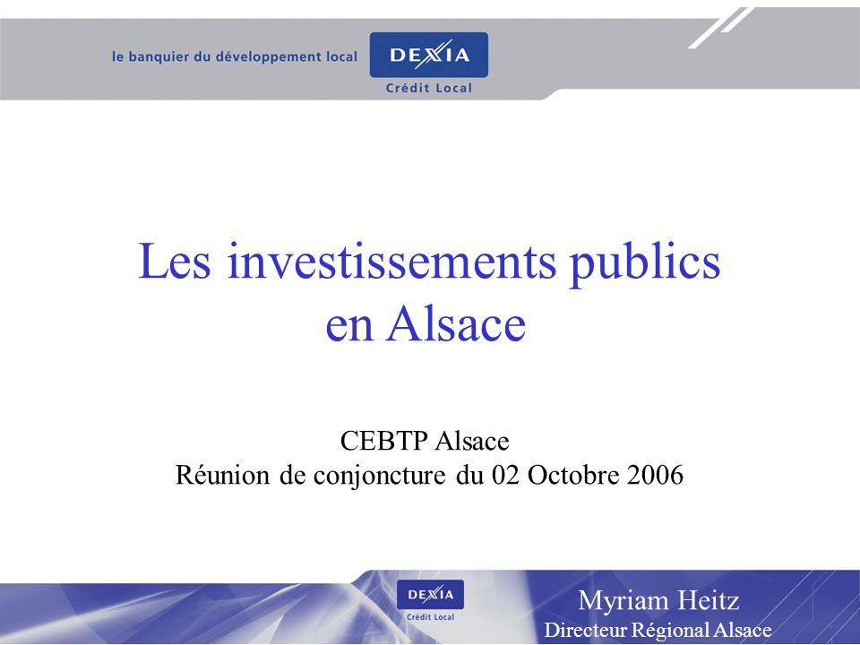 1 Myriam Heitz Directeur Régional Alsace Les investissements publics en Alsace CEBTP Alsace Réunion de conjoncture du 02 Octobre 2006