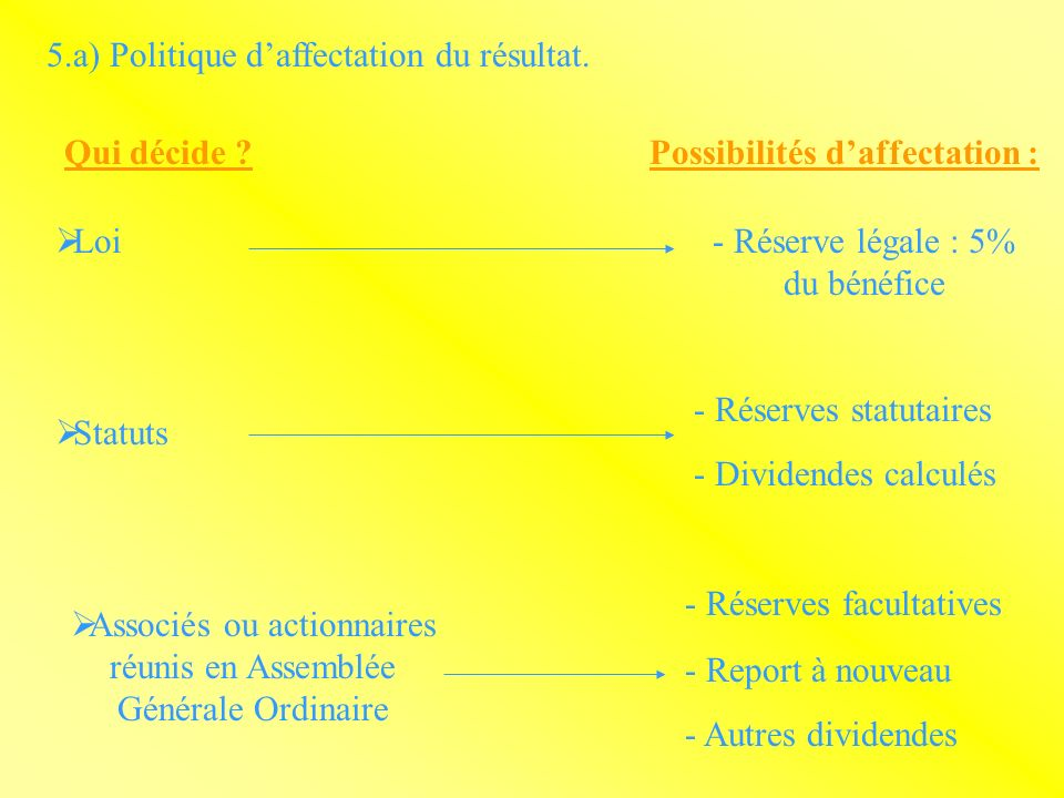 5.a) Politique daffectation du résultat.