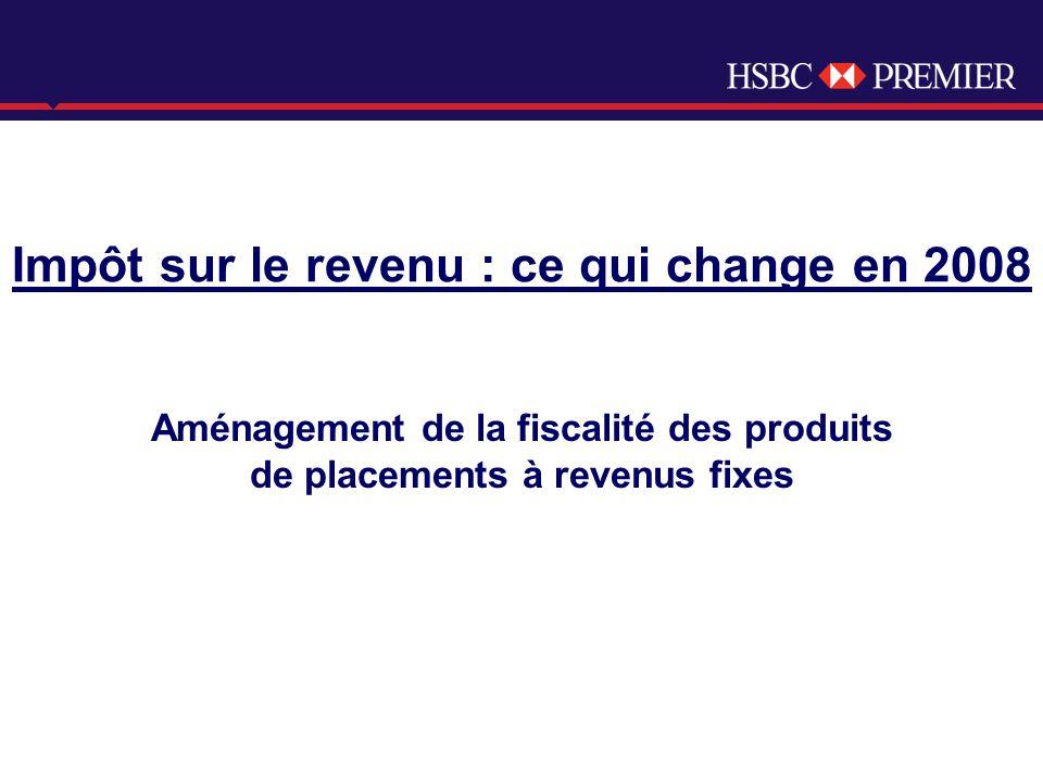 Click to edit Master title style Aménagement de la fiscalité des produits de placements à revenus fixes Impôt sur le revenu : ce qui change en 2008