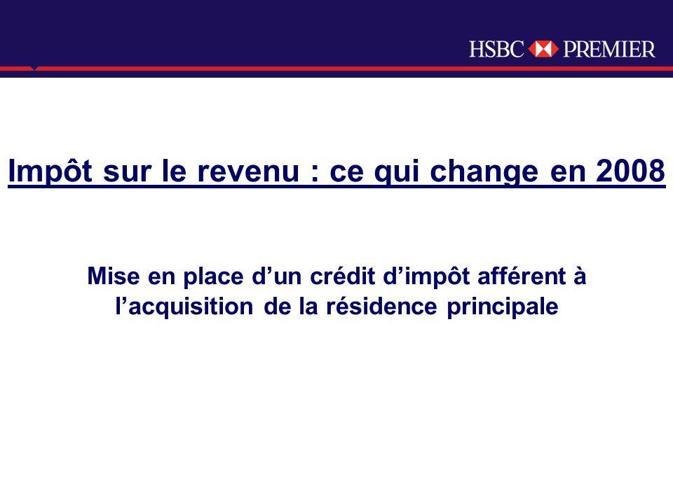 Click to edit Master title style Impôt sur le revenu : ce qui change en 2008 Mise en place dun crédit dimpôt afférent à lacquisition de la résidence principale