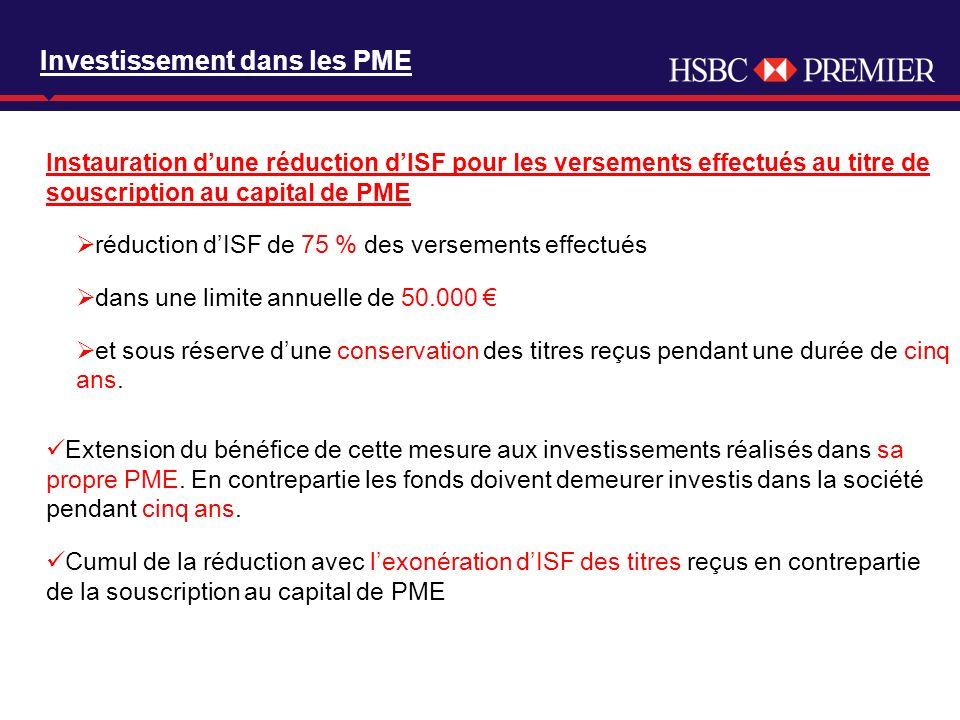 Click to edit Master title style Investissement dans les PME Instauration dune réduction dISF pour les versements effectués au titre de souscription a