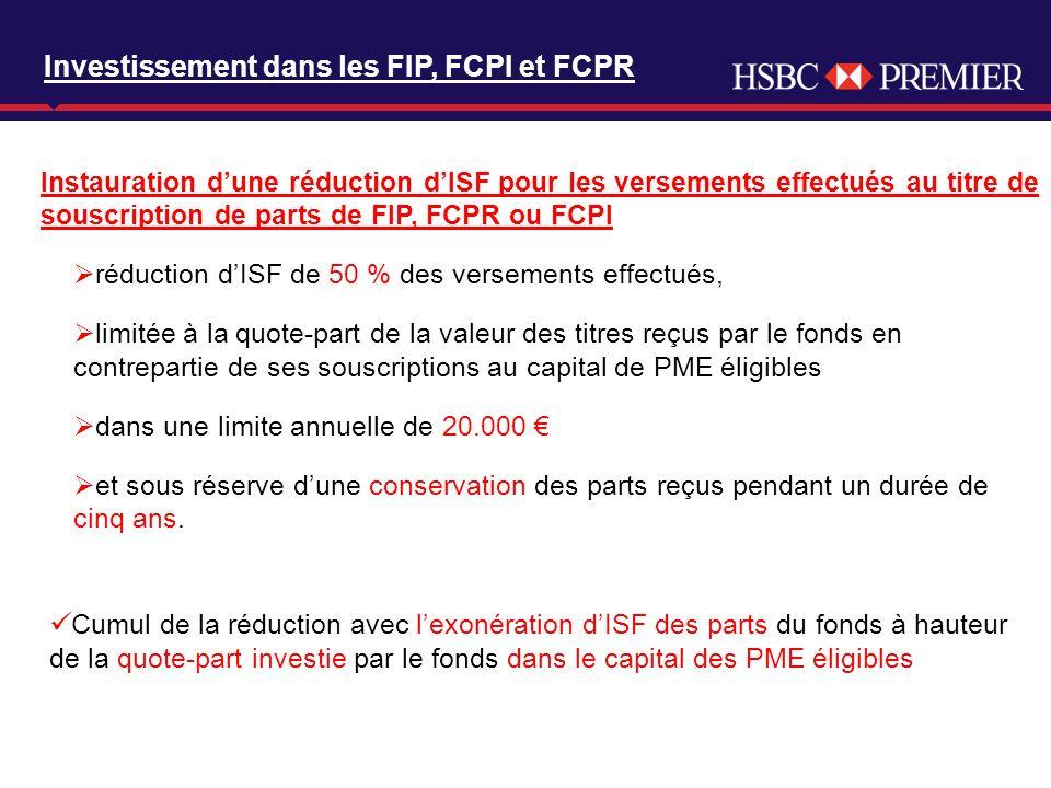 Click to edit Master title style Instauration dune réduction dISF pour les versements effectués au titre de souscription de parts de FIP, FCPR ou FCPI