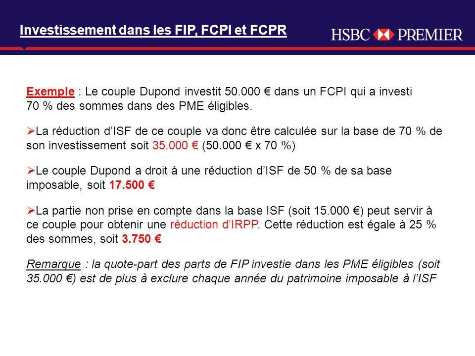 Click to edit Master title style Exemple : Le couple Dupond investit 50.000 dans un FCPI qui a investi 70 % des sommes dans des PME éligibles. La rédu