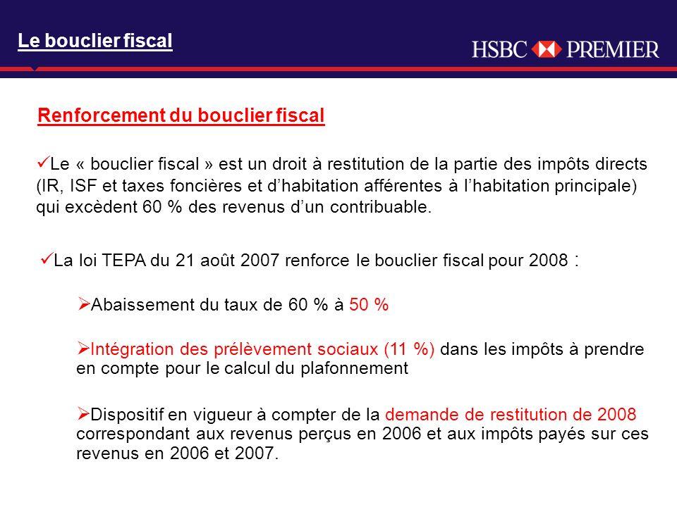 Click to edit Master title style Le « bouclier fiscal » est un droit à restitution de la partie des impôts directs (IR, ISF et taxes foncières et dhabitation afférentes à lhabitation principale) qui excèdent 60 % des revenus dun contribuable.