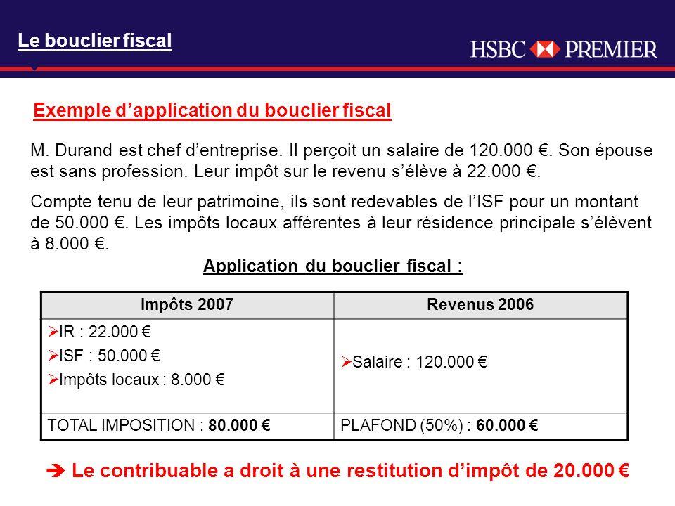 Click to edit Master title style Le bouclier fiscal Exemple dapplication du bouclier fiscal M. Durand est chef dentreprise. Il perçoit un salaire de 1