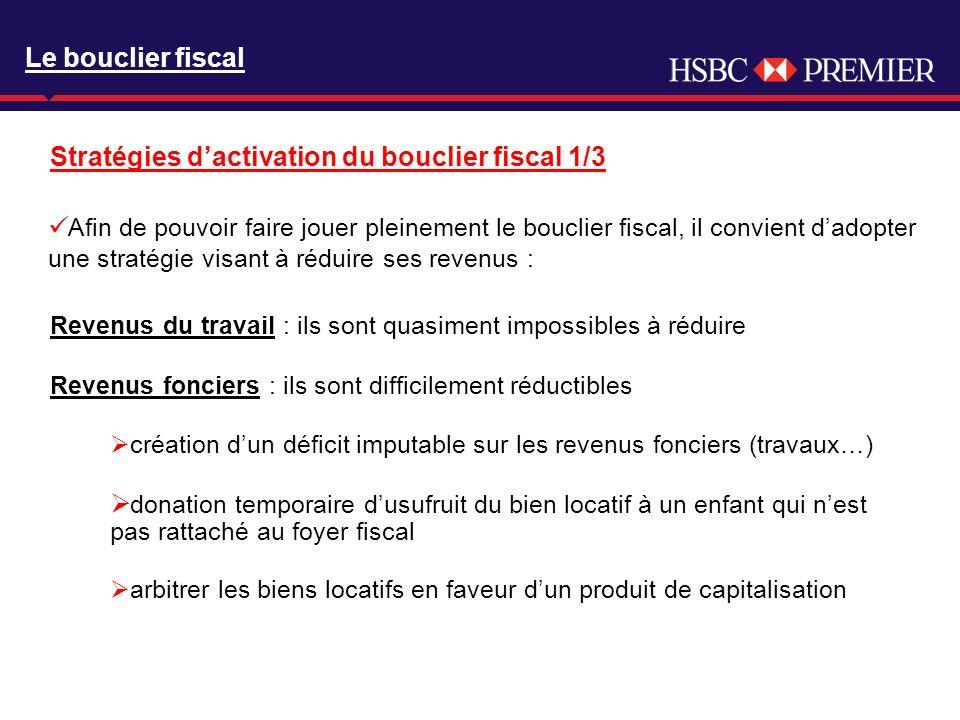 Click to edit Master title style Stratégies dactivation du bouclier fiscal 1/3 Le bouclier fiscal Afin de pouvoir faire jouer pleinement le bouclier f