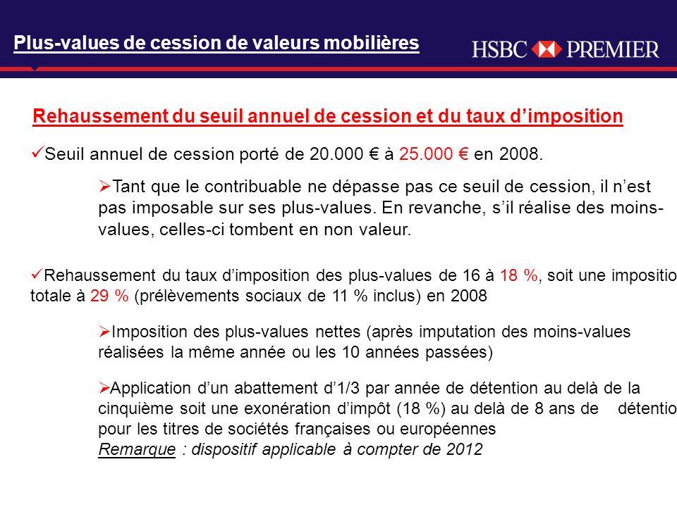 Click to edit Master title style Plus-values de cession de valeurs mobilières Rehaussement du seuil annuel de cession et du taux dimposition Rehaussem