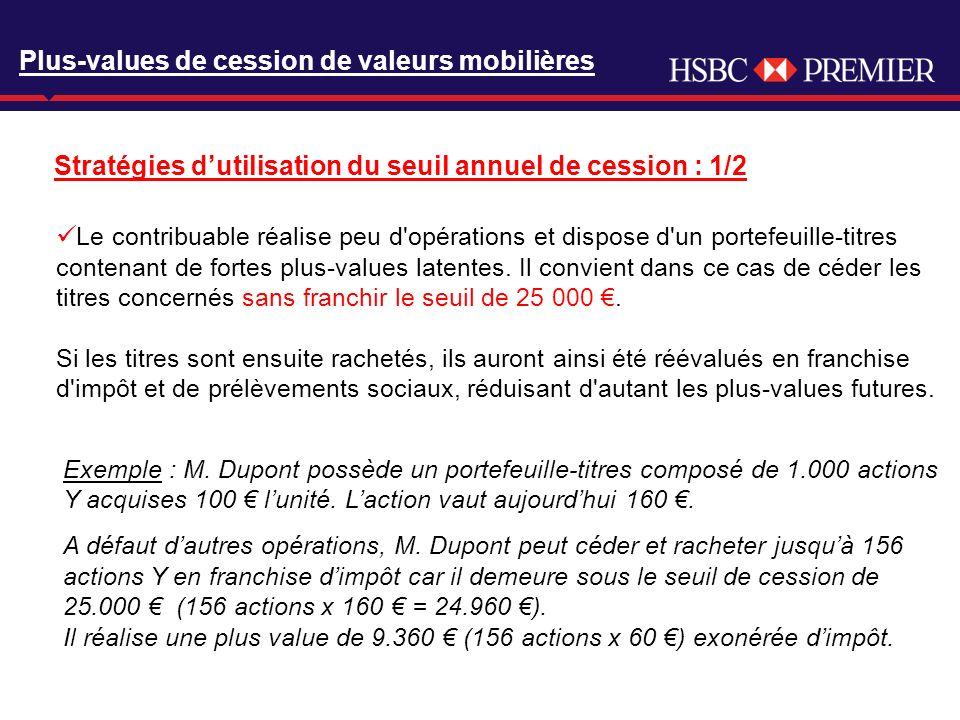 Click to edit Master title style Plus-values de cession de valeurs mobilières Stratégies dutilisation du seuil annuel de cession : 1/2 Le contribuable