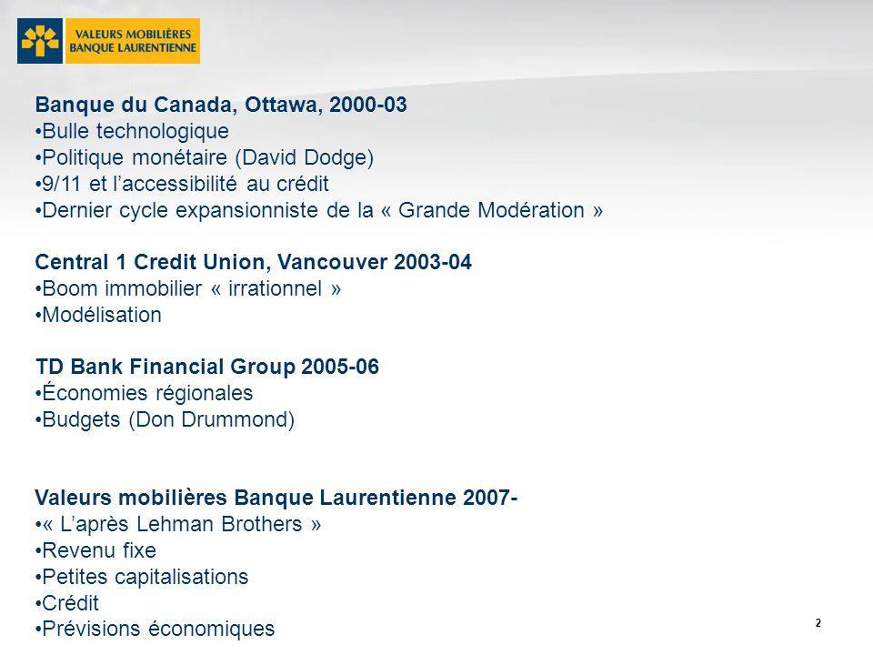 33 Prévisions financières (fin de la période) (Novembre 2010) (Novembre 2011) 2011 2012 Canada Taux directeur 1,50 2,50 1,00 1,25 Obligations 2 ans2,00 3,00 0,90 1,25 Obligations 10 ans3,50 4,25 2,10 2,90 - Courbe de rend.