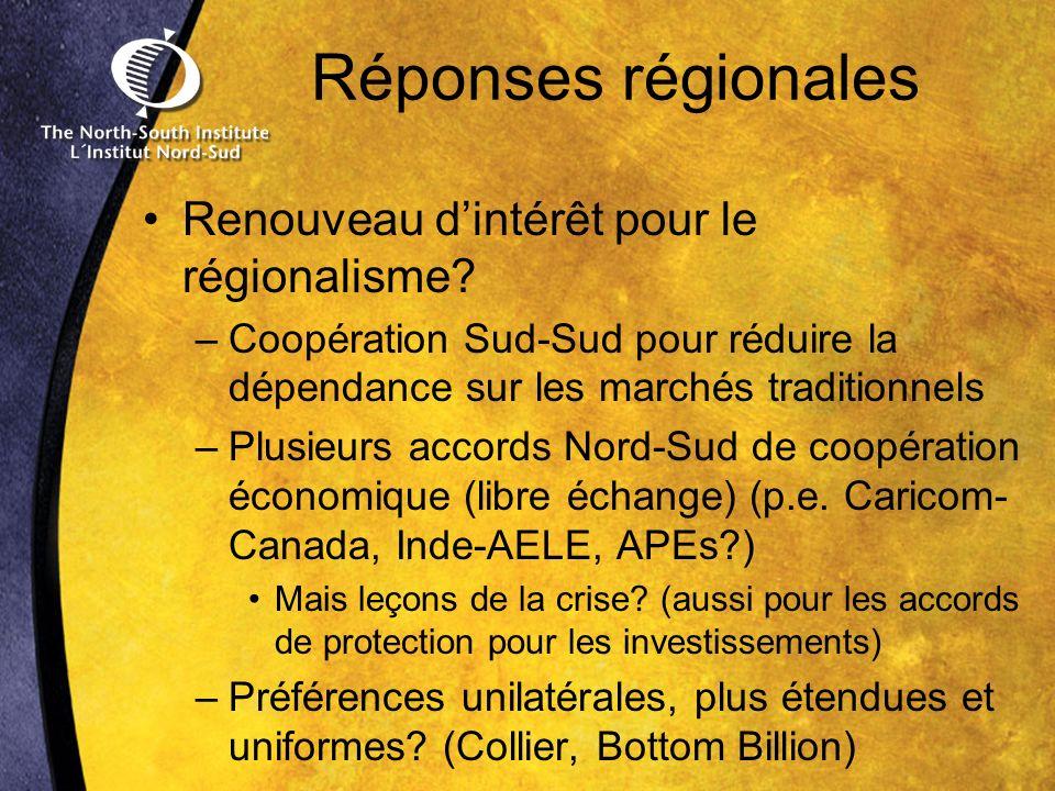 Réponses régionales Renouveau dintérêt pour le régionalisme.