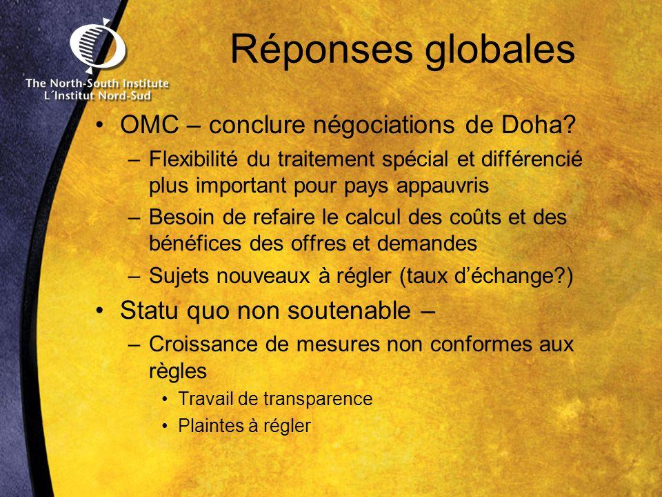 Réponses globales OMC – conclure négociations de Doha.