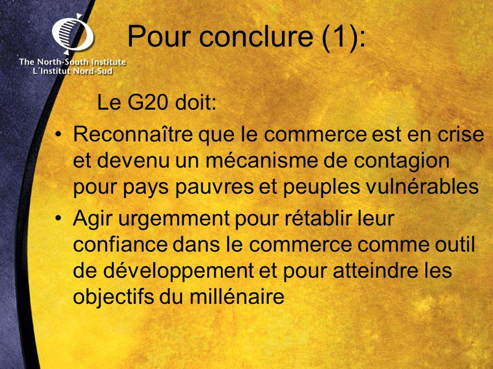 Pour conclure (1): Le G20 doit: Reconnaître que le commerce est en crise et devenu un mécanisme de contagion pour pays pauvres et peuples vulnérables Agir urgemment pour rétablir leur confiance dans le commerce comme outil de développement et pour atteindre les objectifs du millénaire
