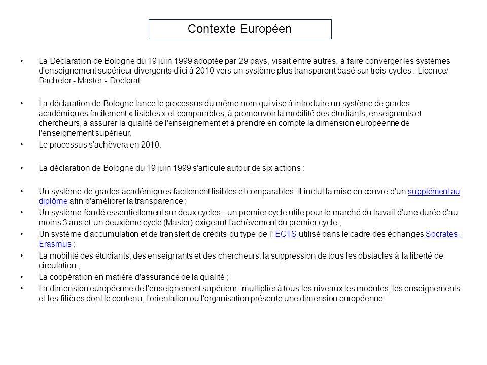 La Déclaration de Bologne du 19 juin 1999 adoptée par 29 pays, visait entre autres, à faire converger les systèmes d'enseignement supérieur divergents
