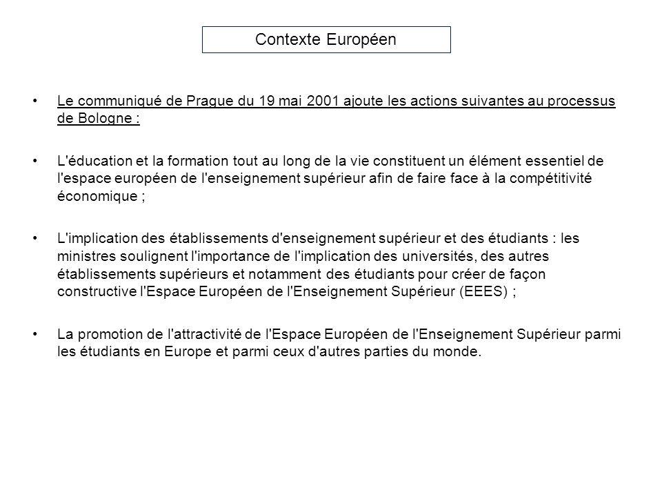 Le communiqué de Prague du 19 mai 2001 ajoute les actions suivantes au processus de Bologne : L'éducation et la formation tout au long de la vie const