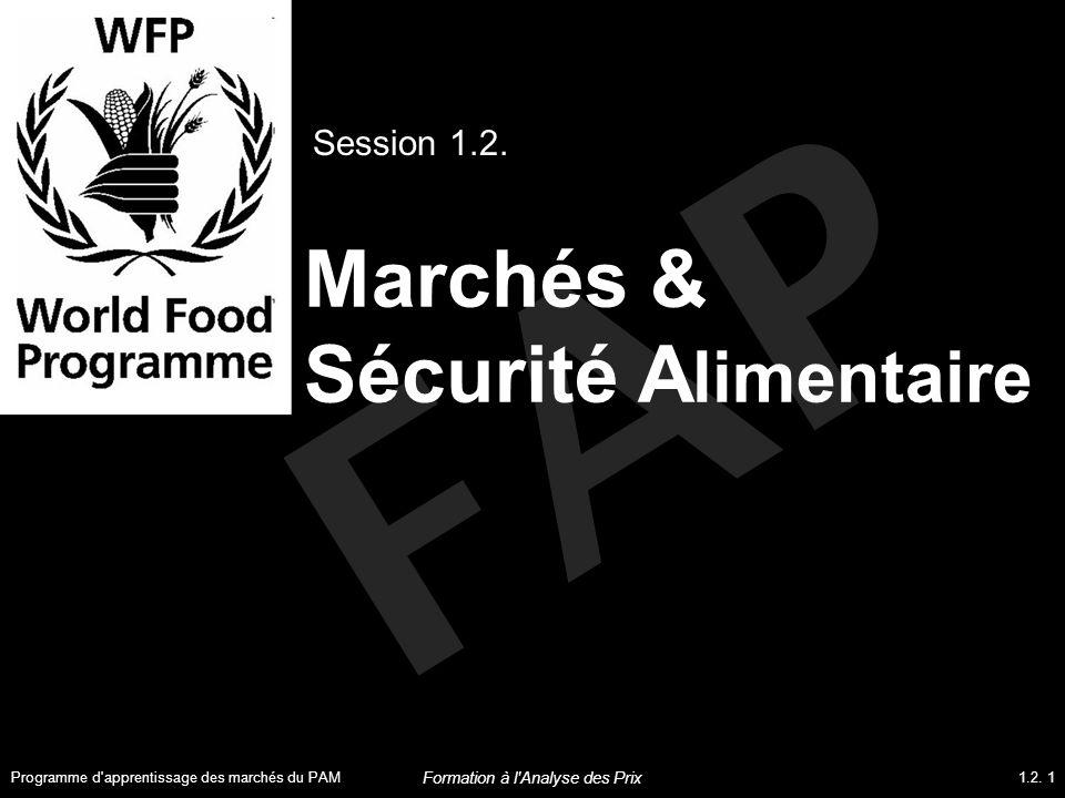 Objectifs de la session A la fin de cette session, les participants pourront : Expliquer l importance et la valeur de l analyse de marché dans l évaluation de la sécurité alimentaire Identifier les liens essentiels entre les marchés et la sécurité alimentaire et, notamment, entre les marchés et la disponibilité alimentaire ; et entre les marchés et l accès à l alimentation Programme d apprentissage des marchés du PAM1.2.
