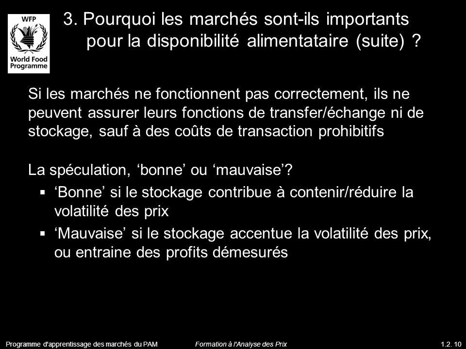 3. Pourquoi les marchés sont-ils importants pour la disponibilité alimentataire (suite) ? Si les marchés ne fonctionnent pas correctement, ils ne peuv