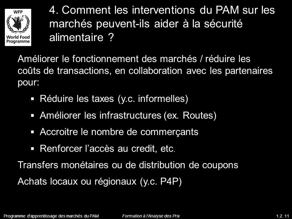 4. Comment les interventions du PAM sur les marchés peuvent-ils aider à la sécurité alimentaire ? Améliorer le fonctionnement des marchés / réduire le