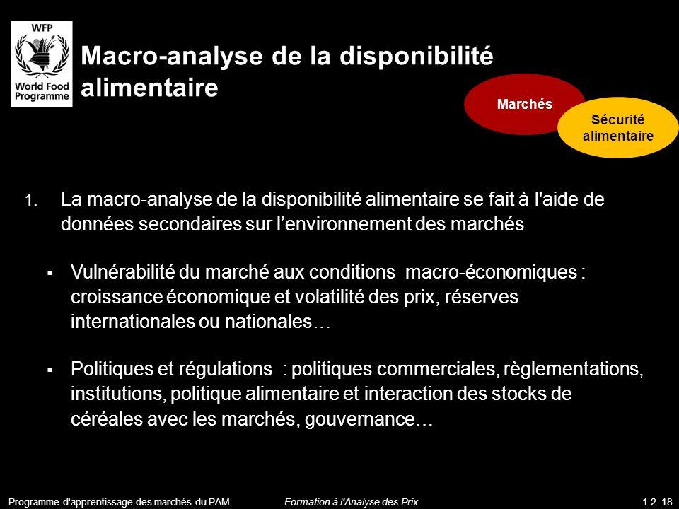 1. La macro-analyse de la disponibilité alimentaire se fait à l'aide de données secondaires sur lenvironnement des marchés Vulnérabilité du marché aux