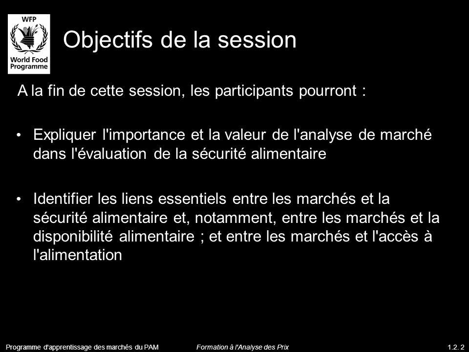 Objectifs de la session A la fin de cette session, les participants pourront : Expliquer l'importance et la valeur de l'analyse de marché dans l'évalu
