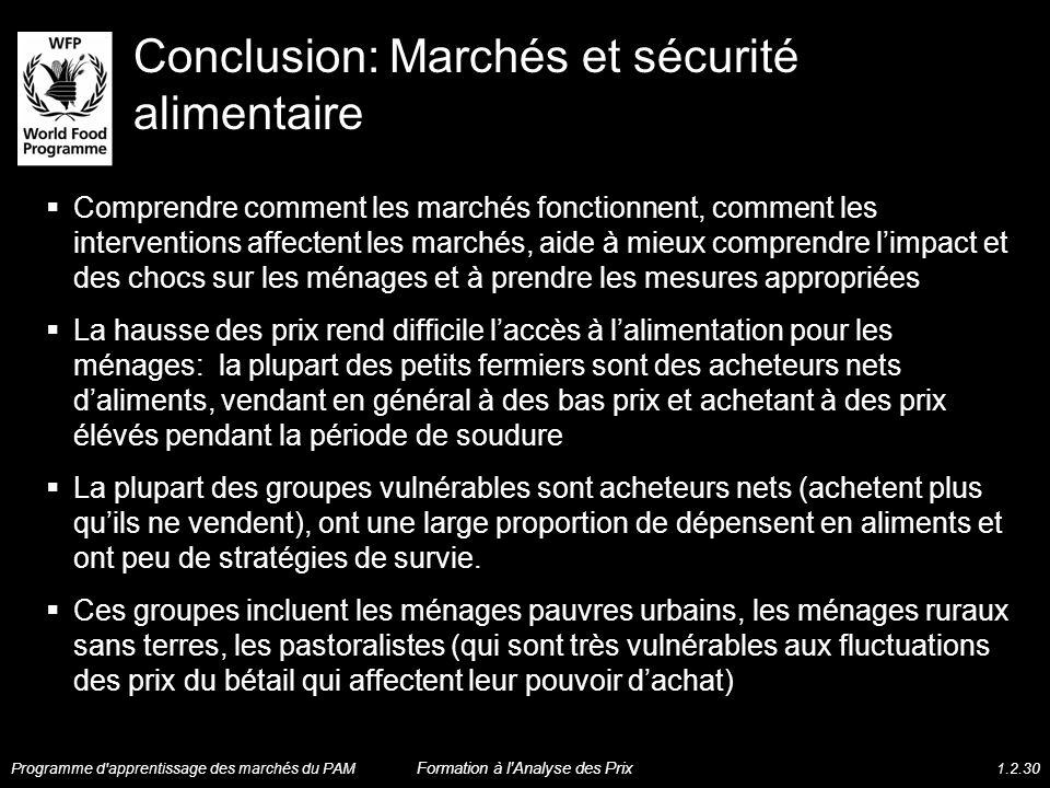 Conclusion: Marchés et sécurité alimentaire Comprendre comment les marchés fonctionnent, comment les interventions affectent les marchés, aide à mieux