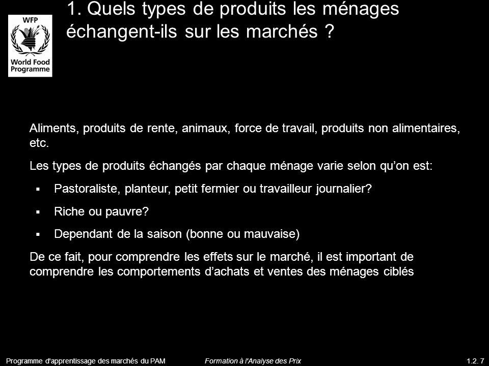 1. Quels types de produits les ménages échangent-ils sur les marchés ? Aliments, produits de rente, animaux, force de travail, produits non alimentair