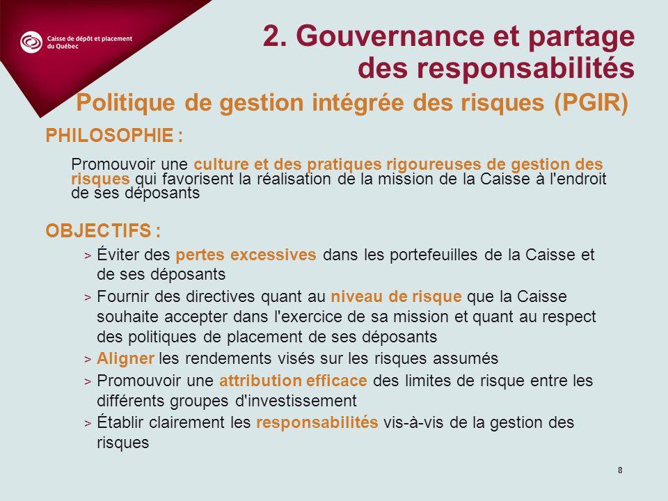 8 2. Gouvernance et partage des responsabilités PHILOSOPHIE : Promouvoir une culture et des pratiques rigoureuses de gestion des risques qui favorisen