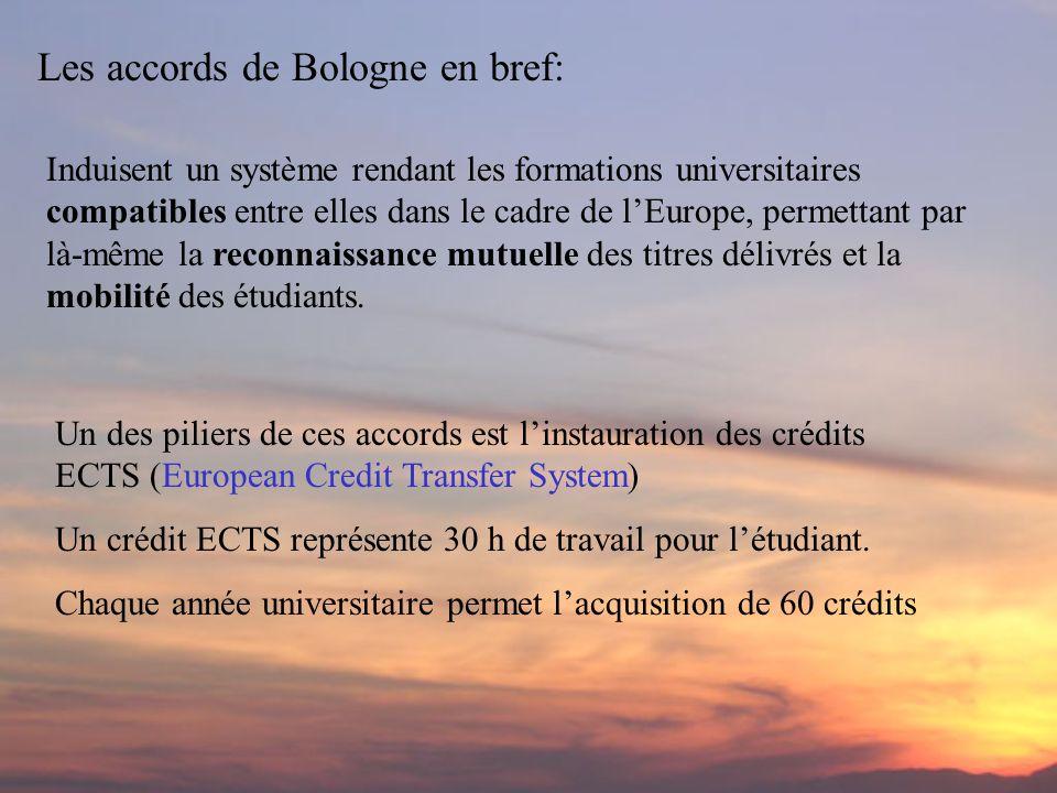 Les accords de Bologne en bref: Induisent un système rendant les formations universitaires compatibles entre elles dans le cadre de lEurope, permettant par là-même la reconnaissance mutuelle des titres délivrés et la mobilité des étudiants.