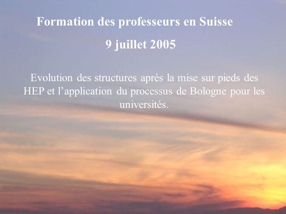 Evolution des structures après la mise sur pieds des HEP et lapplication du processus de Bologne pour les universités. Formation des professeurs en Su