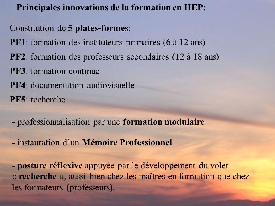Principales innovations de la formation en HEP: - professionnalisation par une formation modulaire - instauration dun Mémoire Professionnel - posture réflexive appuyée par le développement du volet « recherche », aussi bien chez les maîtres en formation que chez les formateurs (professeurs).