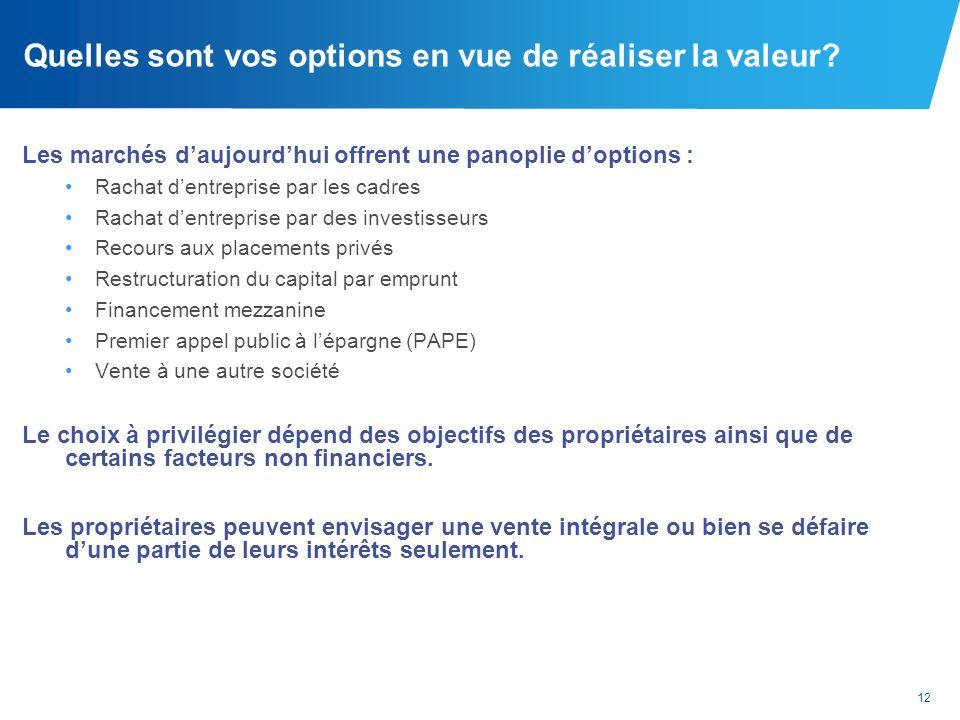 12 Quelles sont vos options en vue de réaliser la valeur? Les marchés daujourdhui offrent une panoplie doptions : Rachat dentreprise par les cadres Ra