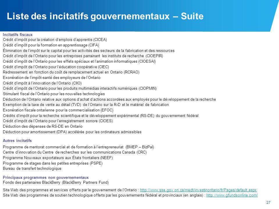 27 Liste des incitatifs gouvernementaux – Suite Incitatifs fiscaux Crédit dimpôt pour la création demplois dapprentis (CICEA) Crédit dimpôt pour la fo