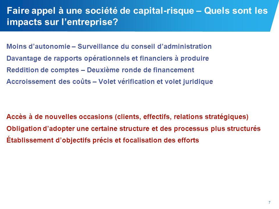 7 Faire appel à une société de capital-risque – Quels sont les impacts sur lentreprise? Moins dautonomie – Surveillance du conseil dadministration Dav