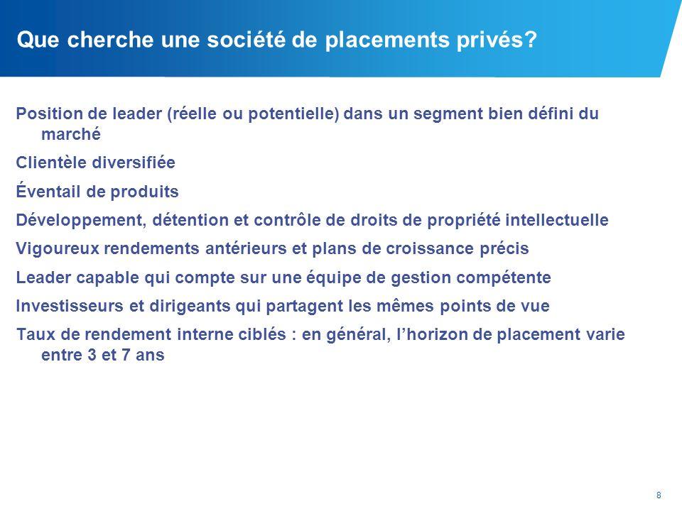 8 Que cherche une société de placements privés? Position de leader (réelle ou potentielle) dans un segment bien défini du marché Clientèle diversifiée