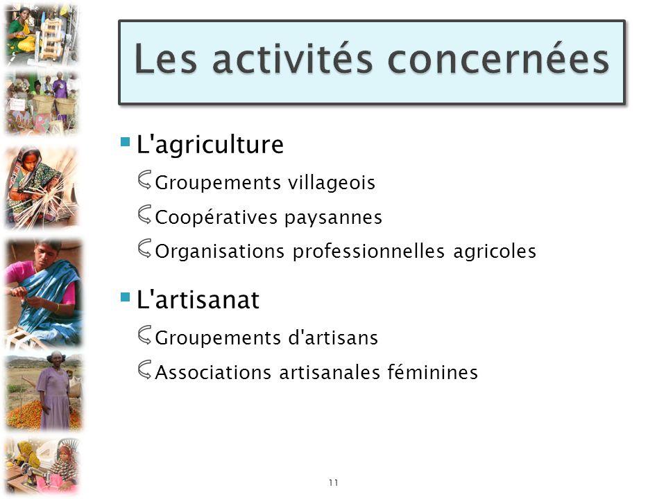 L'agriculture Groupements villageois Coopératives paysannes Organisations professionnelles agricoles L'artisanat Groupements d'artisans Associations a