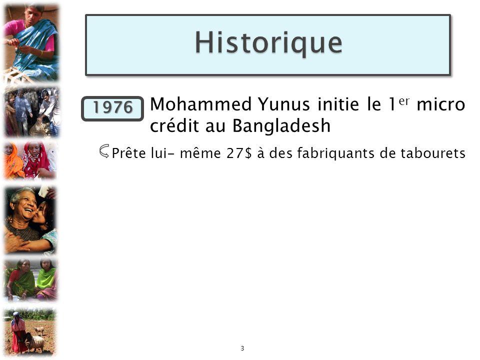 1976 Mohammed Yunus initie le 1 er micro crédit au Bangladesh Prête lui- même 27$ à des fabriquants de tabourets 3 1976
