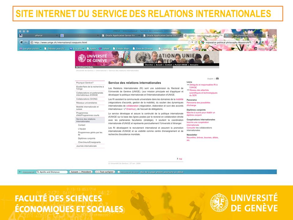 SITE INTERNET DU SERVICE DES RELATIONS INTERNATIONALES