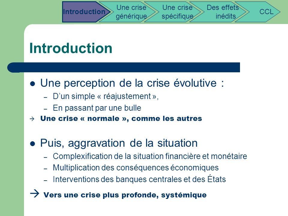 Introduction Une perception de la crise évolutive : – Dun simple « réajustement », – En passant par une bulle Une crise « normale », comme les autres