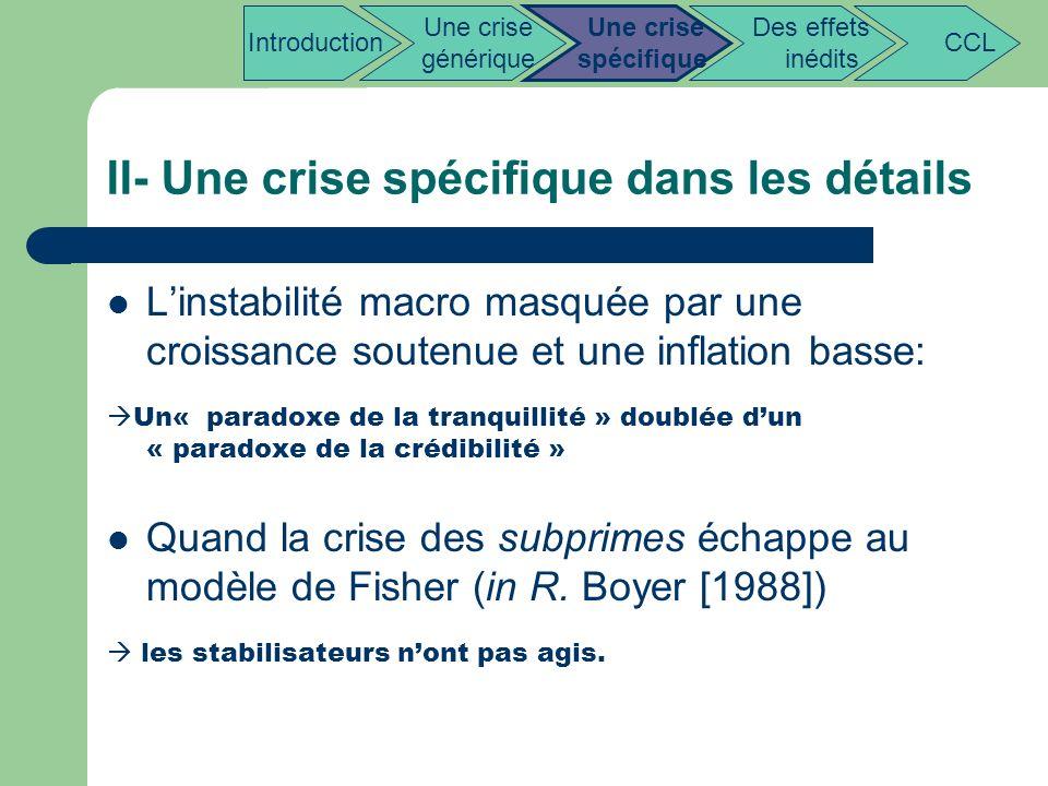 II- Une crise spécifique dans les détails Linstabilité macro masquée par une croissance soutenue et une inflation basse: Un« paradoxe de la tranquilli