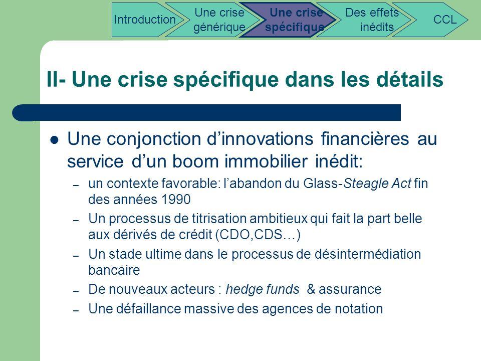 II- Une crise spécifique dans les détails Une conjonction dinnovations financières au service dun boom immobilier inédit: – un contexte favorable: lab